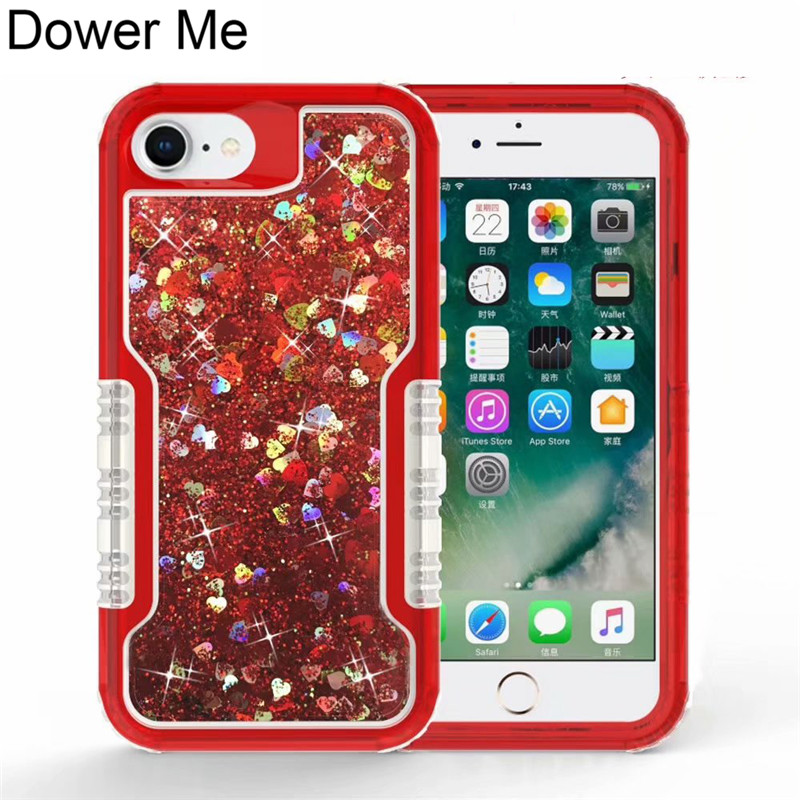 Dower Me 2 in 1 Clear Love Liquid Quicksand Bling Glitter Case Cover For iPhone X 8 7 6 6S Plus Samsung Galaxy Note 8 S9 S8 Plus