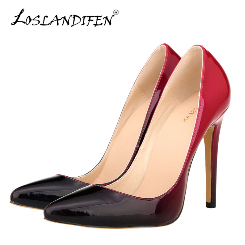 LOSLANDIFEN Plus Size 35-42 Women Pumps Pointed Toe Slip on Sexy High Heels Shoes Mixed Color Ladies Wedding Shoes Summer Autumn sexy pointed toe high heels women pumps shoes new spring brand design ladies wedding shoes summer dress pumps size 35 42 302 1pa