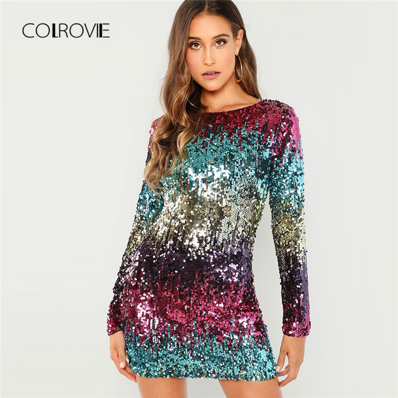 COLROVIE/сексуальное женское платье на молнии с вышивкой и блестками, осень 2018, вечернее платье с длинными рукавами, уличная элегантная мини-пла...