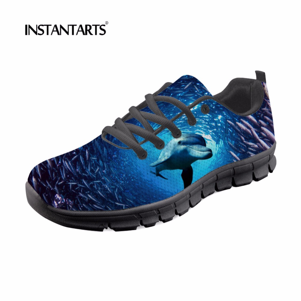 New INSTANTARTS Women Blue Sea Sneakers Cute Dolphin Shark Pattern Youth Girl Casual Lace Up Zapatos De Mujer Woman's Mesh Flat Shoe