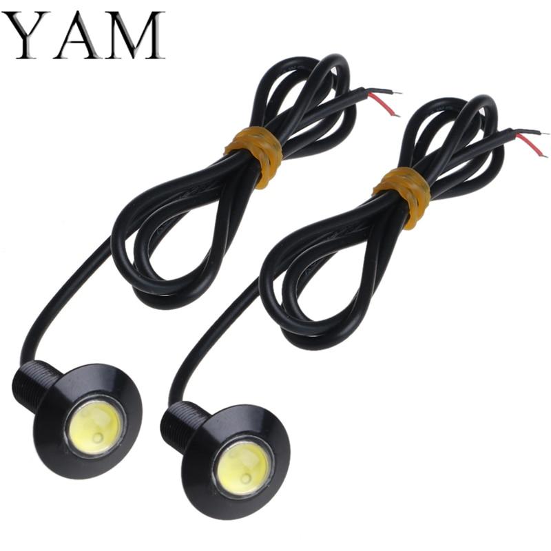 YAM 1 Pair Ultra Thin 23mm 12V Car LED DRL Daytime Running Light Eagle Eye Lamp #1 7w led white light eagle eye car foglight backup daytime running lamp dc 12v
