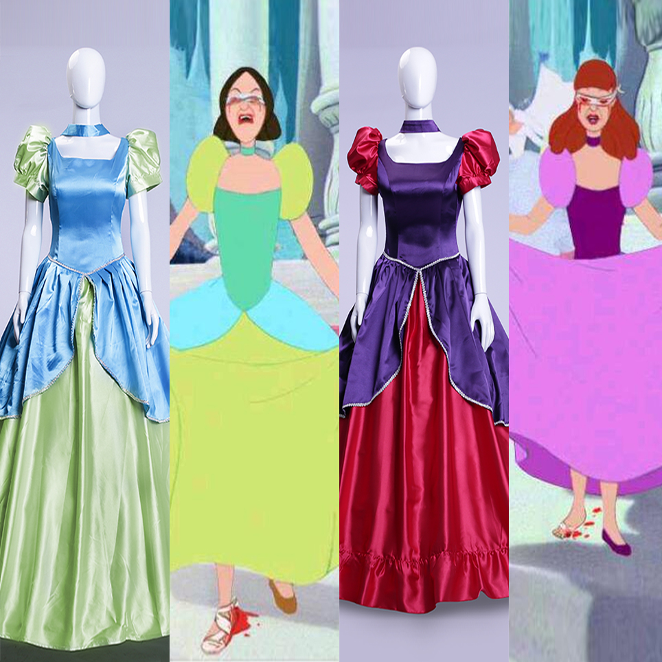 Cinderella evil sisters Anastasia costume dress princess dress adult women Halloween Cosplay Costume