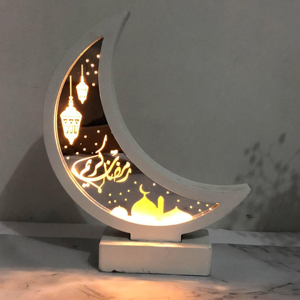 Eid Moon Night Light Ramadan Eid Mubarak Decorations Lights Wooden Desk Lamp Islam Muslim Event Party Supplies( No Battery)