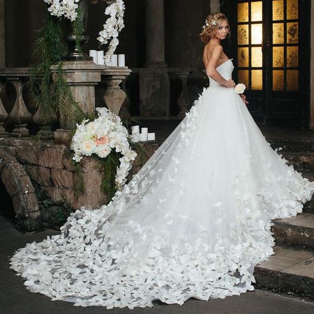 Erstaunlich Traum Hochzeitskleid Schmetterling Ultra Lange Zug ...