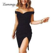 Ziamonga женское осеннее платье зимнее черное красное с открытыми плечами без спинки платье-туника для вечеринки Сексуальное Женское облегающее Бандажное платье