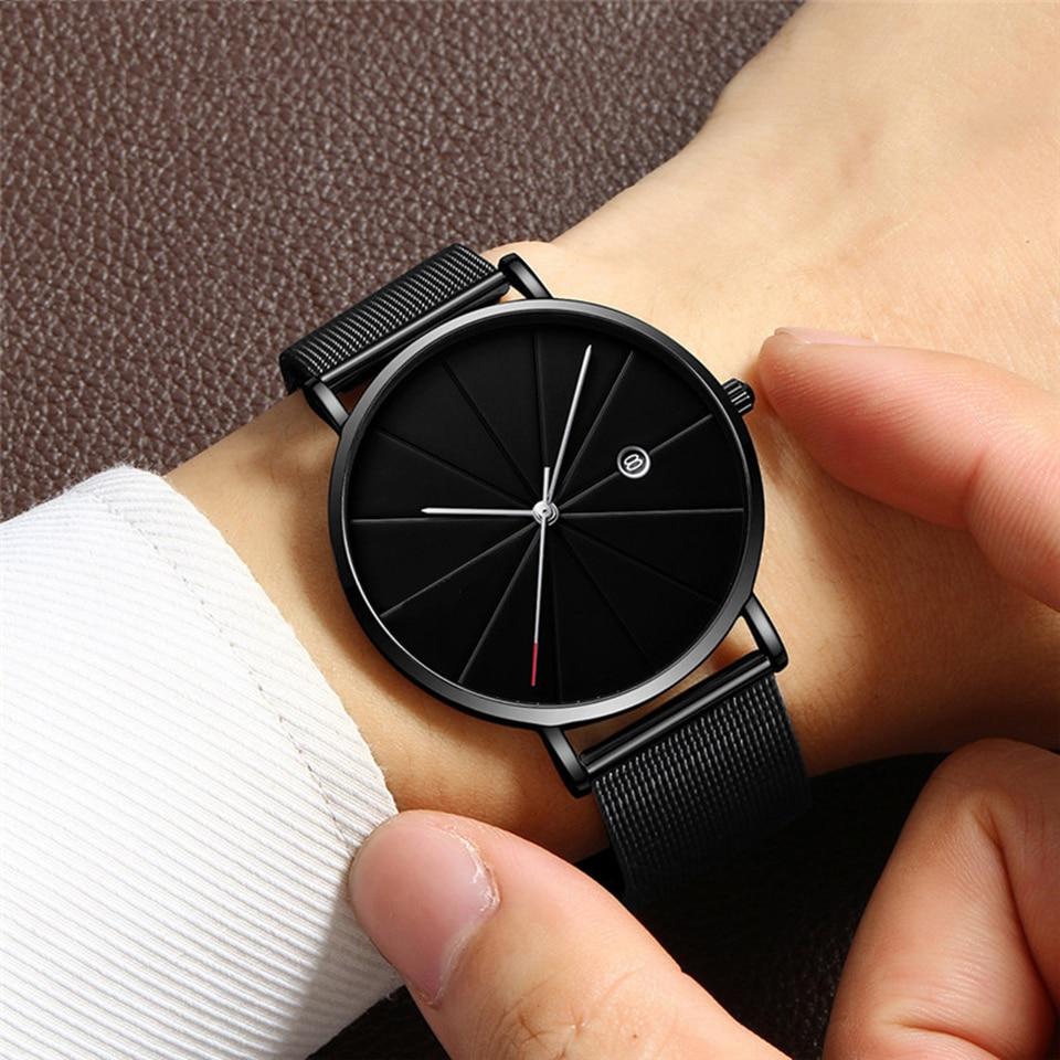 Hommes noir Sport maille ceinture calendrier Montre Relogio Masculino minimaliste hommes montres marque Relogios Reloj Hombre Montre Homme 2019