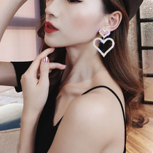 New Arrival  Crystal Classic Heart Women Dangle Earrings Fashion Double Loving With Long Peach Jewelry