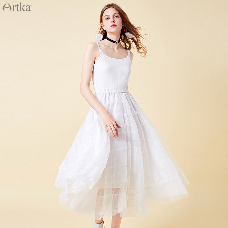 ARTKA 2019 Summer Women Sleeveless Dress Solid White A Line Spaghetti Strap Dress Lady High Quality Princess Dresses LA15298C in Dresses from Women 39 s Clothing