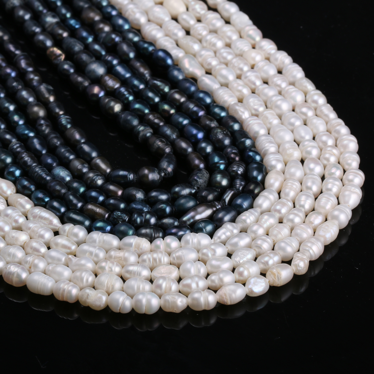Natural Freshwater Cultured Pearls Beads Rice Shape 100% Natural Pearls for Jewelry Making DIY Strand 13 Inches Size 5-6mm(China)