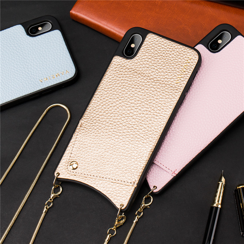 Credit Card Leather Phone Case Wallet Strap Crossbody Long Chain for Iphone XR XSMax 6S 8