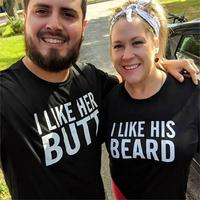 2019 NEW Valentine Gifts Couple Matching T-shirt Funny Letter BEARD BUTT Sweet Lovers Brand Tops Short Sleeve Basic O Neck Tees