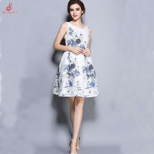 Rc S Secret 2017 Spring And Summer Vintage Vestidos Priting Sleeveless Dress Plain Elegant Printed Lady