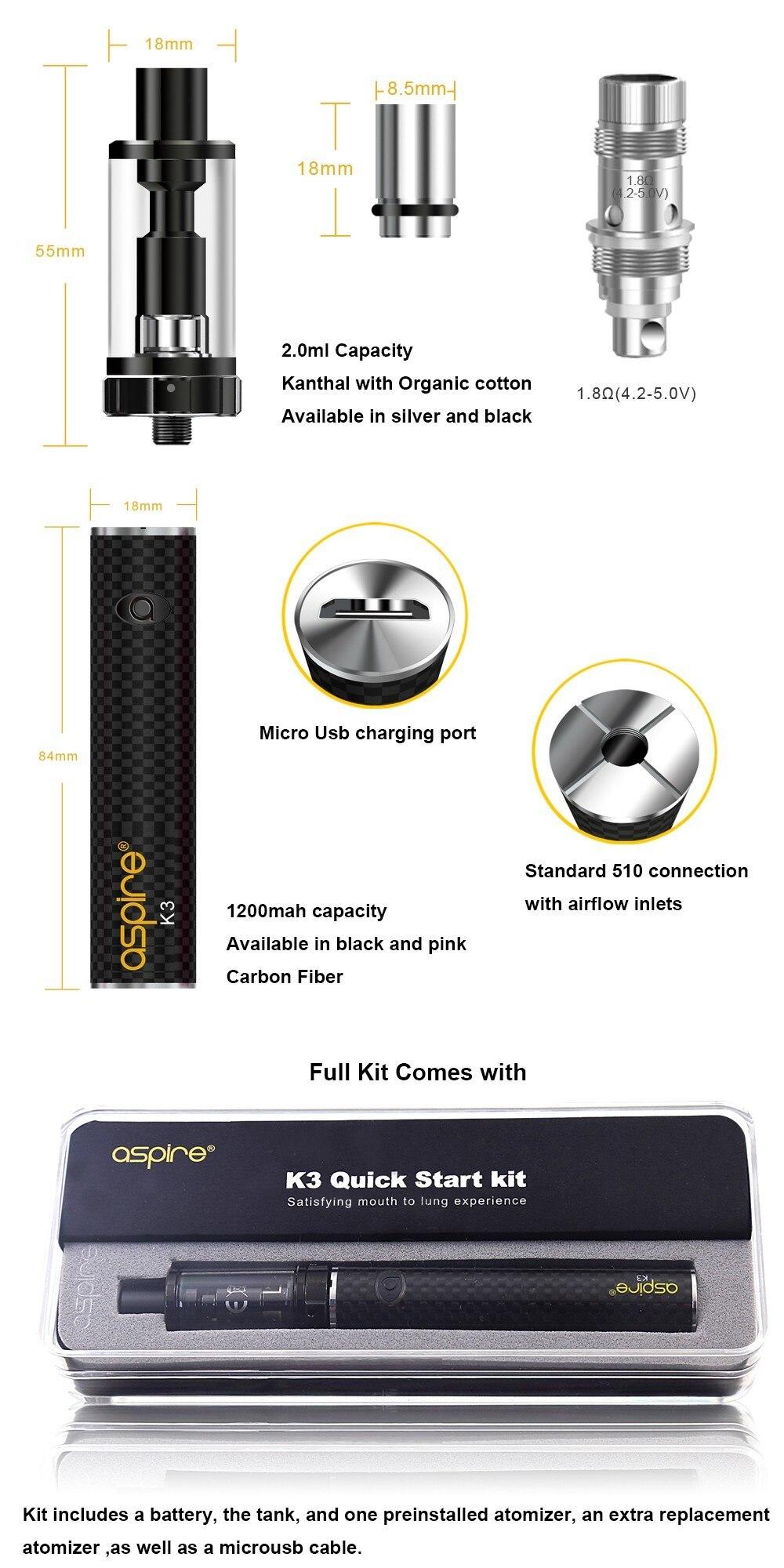 K3 Aspire Starter Kit Electronic Cigarette Pen Style