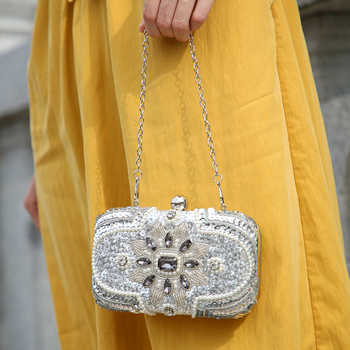 New Glitter Women Beaded Clutch Silver Evening Bags With Chains Handbag Wedding Dress Bag Party Purse Banquet Package w611