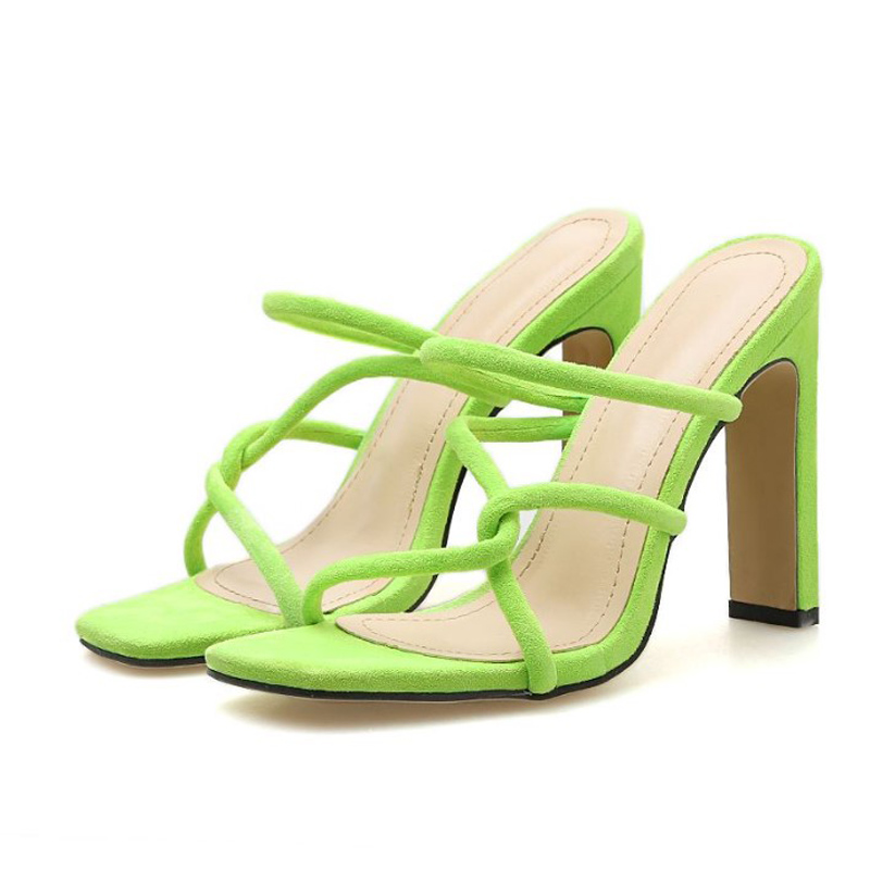 beach slippers for women green Mules High Heel Slippers Shoes Peep Toe Sandals Fashion Ladies Sexy Party Slippers YMA851 in Slippers from Shoes