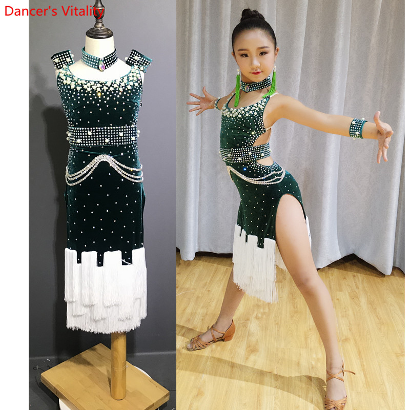 Luxury Diamond Latin Dance Dress For Ballroom Dancing Kids Standard Latin Competition Dresses Rumba Samba Salsa Costumes