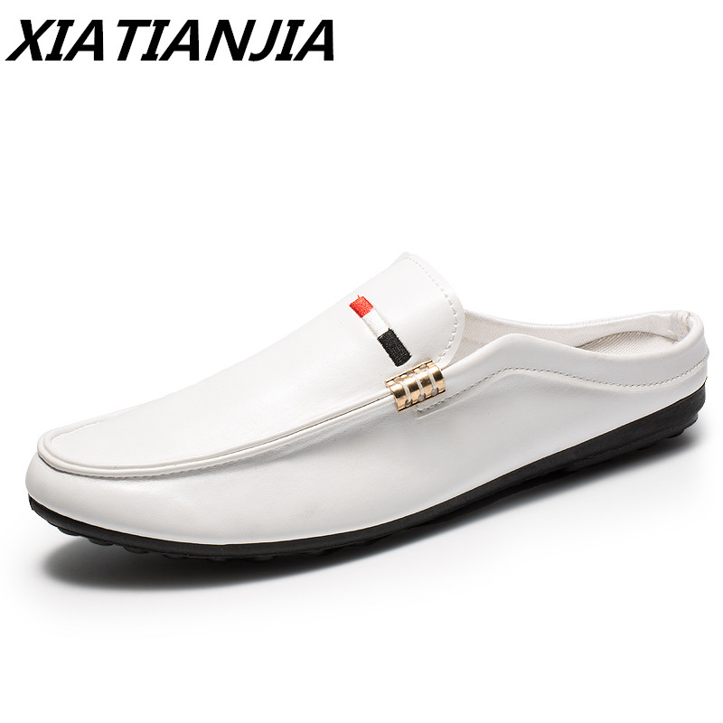 Summer New Half Drag Peas Leather Men Shoes Men's Sneakers Breathable Loafers Men's Moccasins Chaussure Homme Tenis Masculino