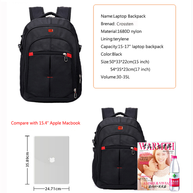 Crossten versatile Swiss Travel Bags Laptop Backpack 15.6 1