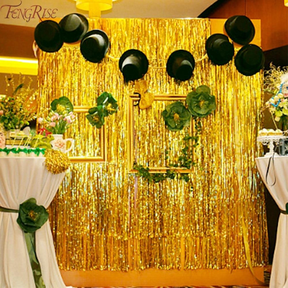 Fengrise Gold Foil Tinsel Curtain 1x2 Meters Foil Fringe