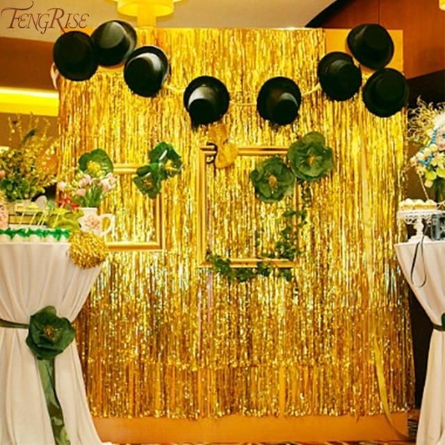 FENGRISE Gold Foil Tinsel Curtain 1X2 Meters Foil Fringe Backdrop