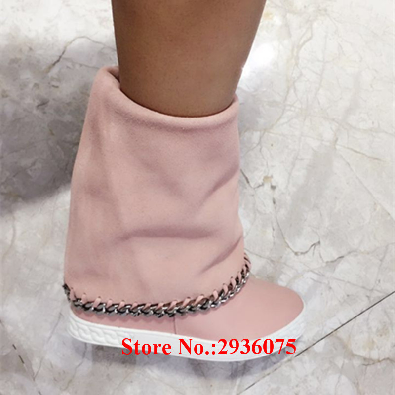 где купить  Botas Mujer Pink Suede Leather Platform 8CM Concealed Wedges Casual Zapatillas Mujer Chain Slip-On Women Ankle Boots Shoes Woman  по лучшей цене