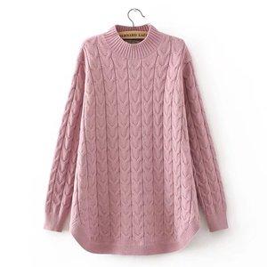 Image 3 - Herfst Coltrui Truien Vrouwen Plus Size 3 4 XL Casual Breien Trui Truien Roze Grijs Zwart KKFY332