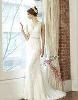 free shipping lace appliques cap sleeve custom drape soft net charming trumpet V neck deep V back sash wedding gown bridal dress