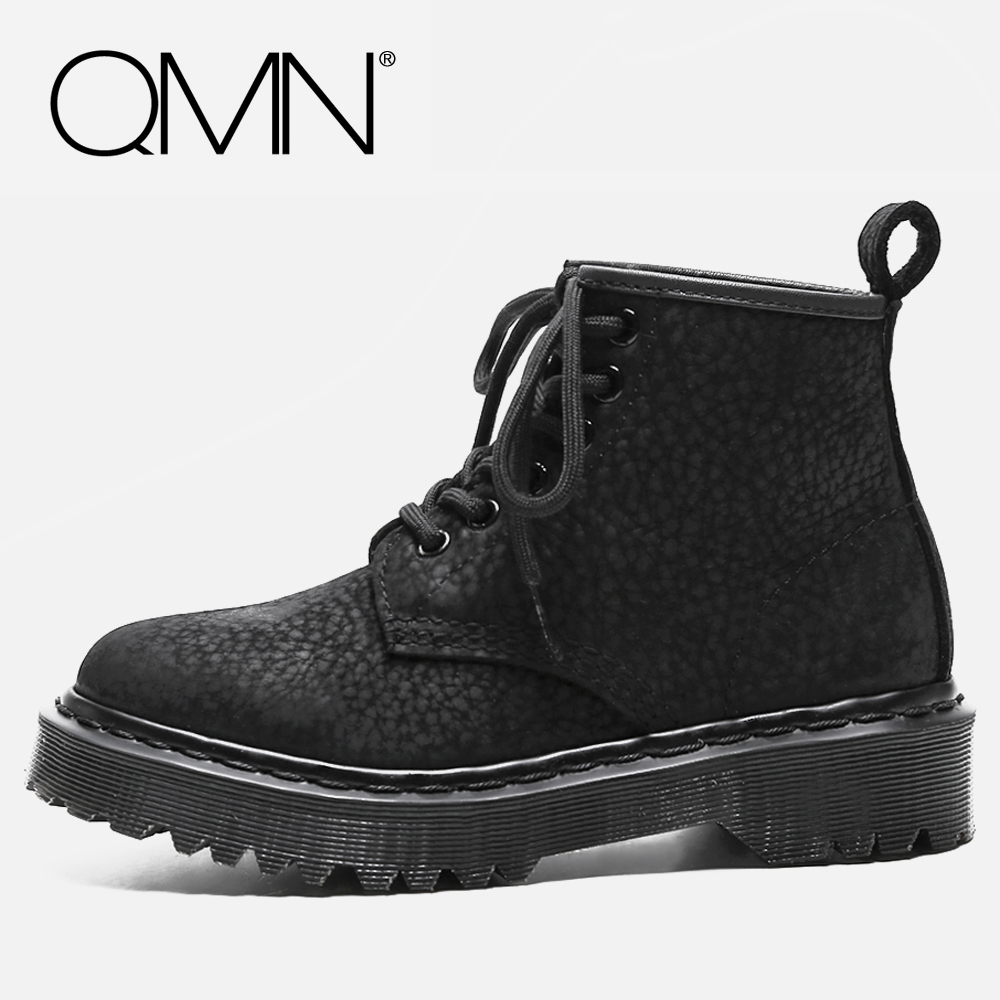 QMN women genuine leather ankle boots for Women Cow Suede Flat Heel Work Boots Lace Up Shoes Woman Martin Boots Botas Size 34-40 qmn women distressed brushed cow suede brogue shoes women round toe lace up oxfords shoes woman genuine leather flats