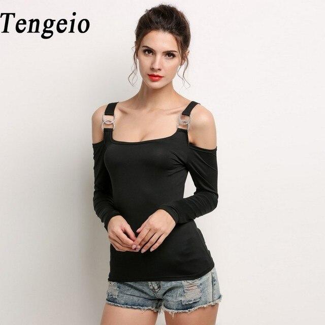 60e8471512d8b Tengeio off the shoulder tops for women Cold Shoulder Tshirt Metal Buckle  Long Sleeve Black White T Shirt Tee Shirt Femme S10