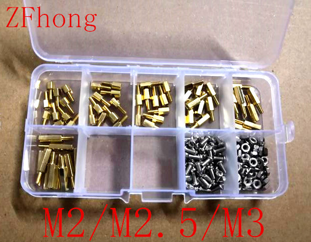 180pcs M2 m2.5 M3 Male Female Thread Brass Spacer Standoffs/ Screw /Hex Nut Assortment set Kits with Plastic Box m2 3 3 1pcs brass standoff 3mm spacer standard male female brass standoffs metric thread column high quality 1 piece sale