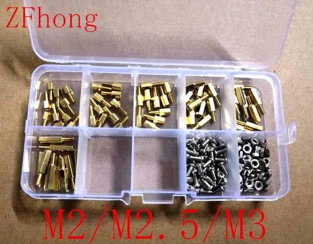 180pcs M2 m2.5 M3 Male Female Thread Brass Spacer Standoffs/ Screw /Hex Nut Assortment set Kits with Plastic Box