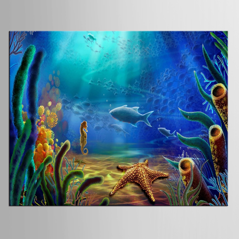 1 panel Picture Wall For Living Room Poster Canvas Painting Decoration Paintings Home Decor Posters The Underwater World in Painting Calligraphy from Home Garden