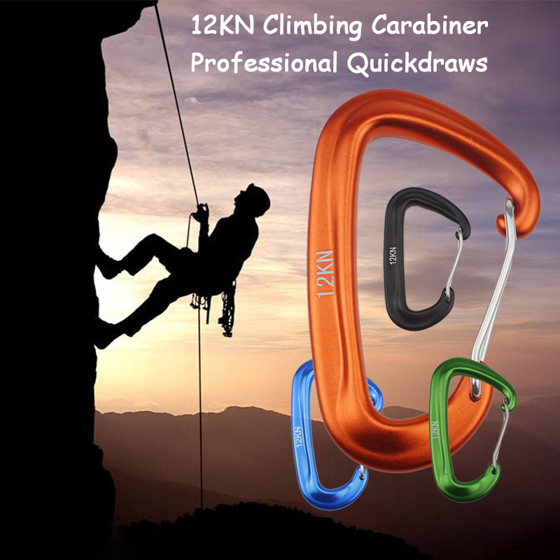 Professional Climbing Carabiner D Shape Mountaineering Buckle Hook 12KN Security Safety Lock Outdoor Climbing Equipment Accessor
