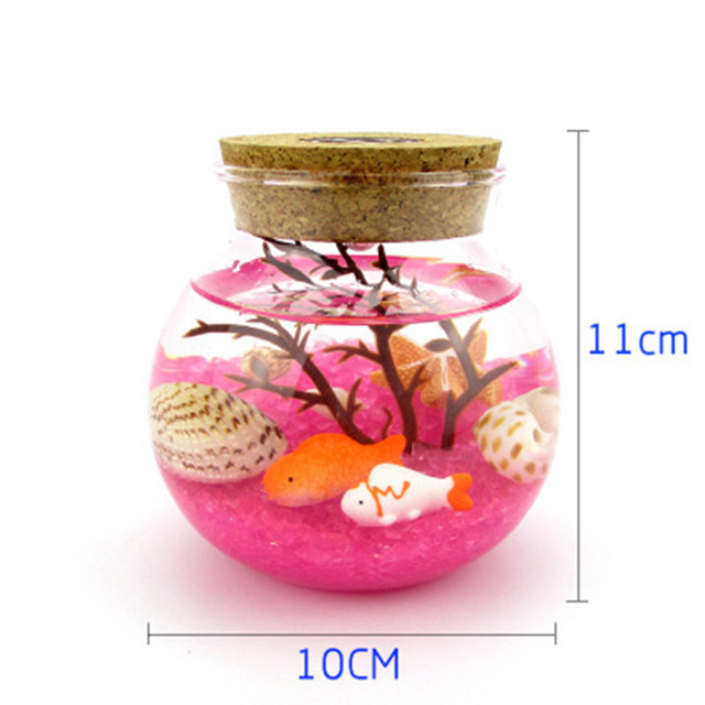 Pink Sand Gl Crafts Decorative Undersea World Micro Landscape Ecological Bottle Colorful Lights Birthday Gift Gifts
