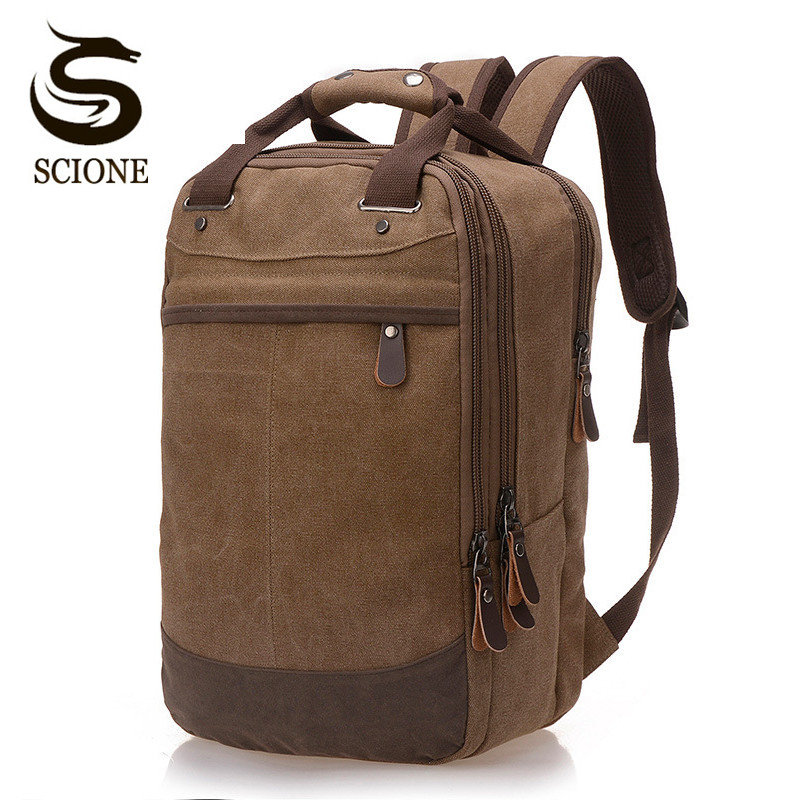 Scione Large Capacity Travel Backpack Multifunction Mens Canvas Backpacks Women Mochila Casual Daily Backpack Daypack School Bag high quality retro style men backpack multifunction casual travel canvas backpacks daily rucksack cotton canvas backpack