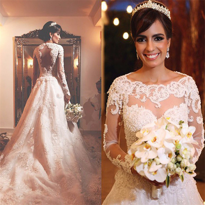 Luxury See Through Tops White Beaded Applique Lace Wedding Party Dress vestido de noiva robe de mariage Custom Made