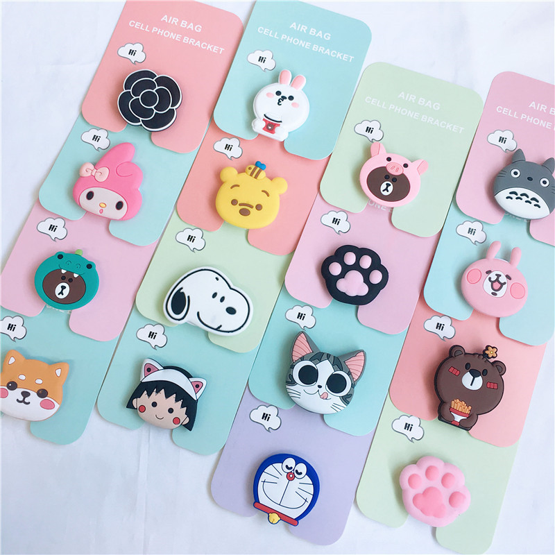 360 rotatable silicone phone Expanding Stand and Grip, cute cartoon fashion phone holder for all mobile phones