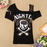 3D Print Skull Rivet Zipper Tshirt Women Black One Halter Shoulder T Shirts Crop Tops Femme
