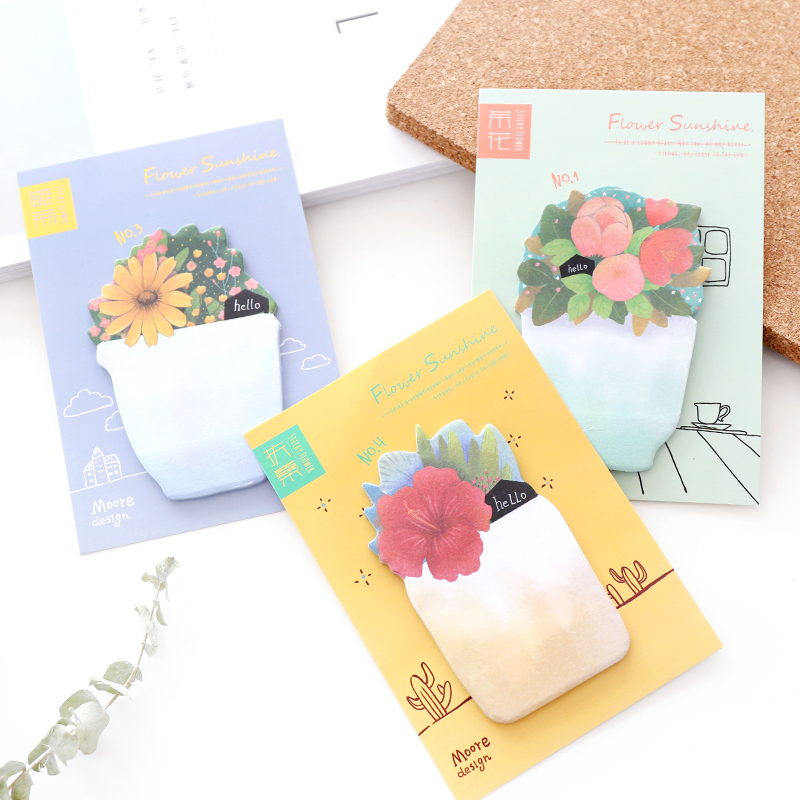 4 Pcs Sunshine Flower Sticky Notes Green Plant Memo Pad Post Page Succulent Sticker Office Accessories School Supplies A6554
