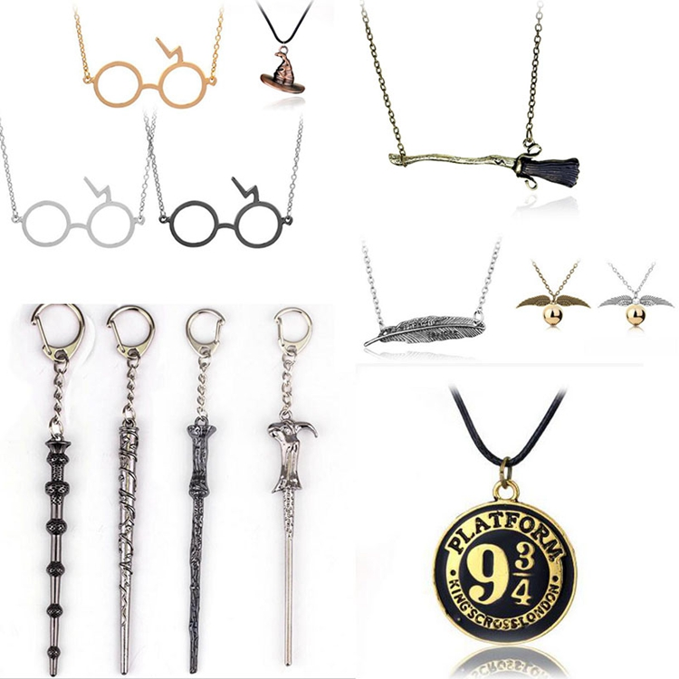 Harri Potter Deathly Hallows Symbol Necklace Toys Harri Potter Magic Wands Golden Quidditch Necklace Toys Dumbledore Wands Toys