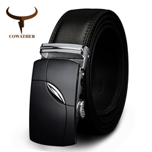 COWATHER 2017 cow genuine leather belts for men automatic alloy buckle black brown color free shipping