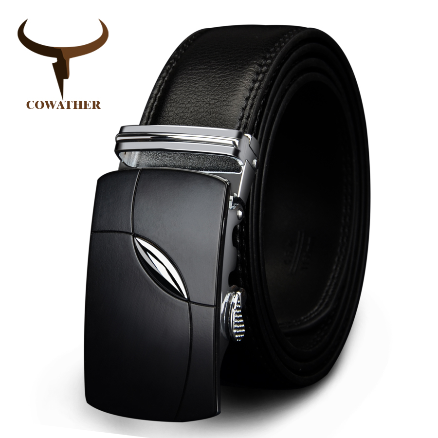 COWATHER 2017 cow genuine leather   belts   for men automatic alloy buckle black brown color free shipping cz035