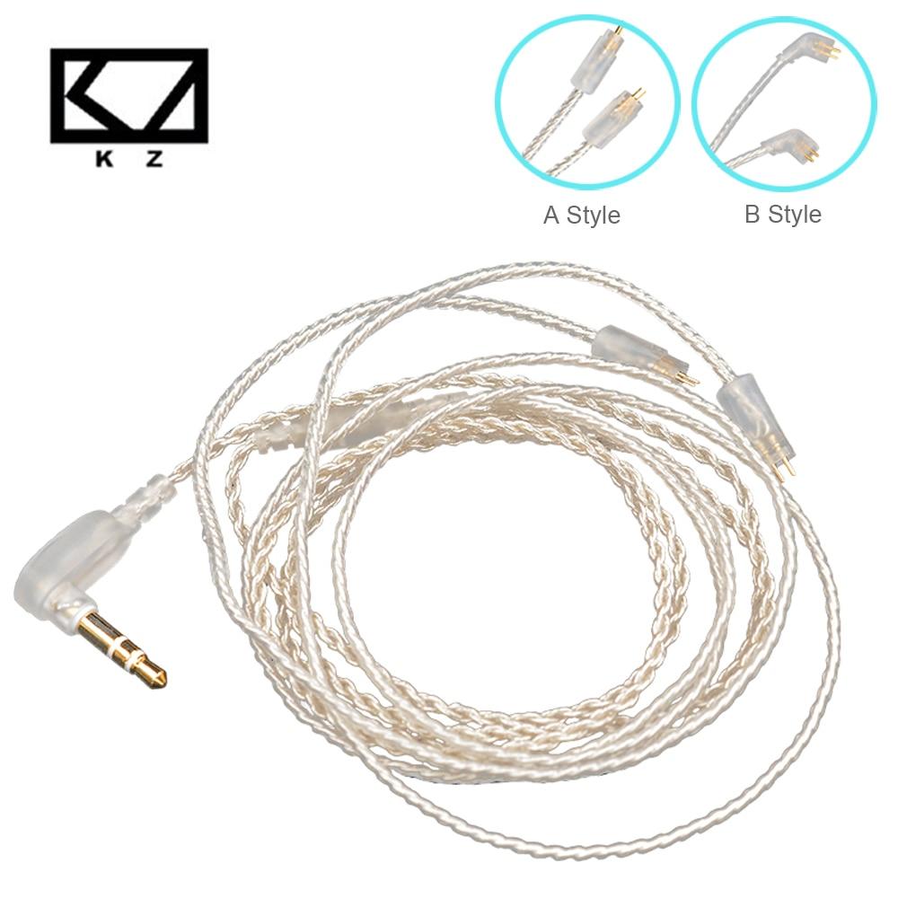 KZ ZS10/ZSA/ZS6 серебряный Обновление наушники кабель съемный аудиокабель 3,5 мм 3-полюсный Jack 0,75 мм 2 Pin провод наушников для ZS5/ED16
