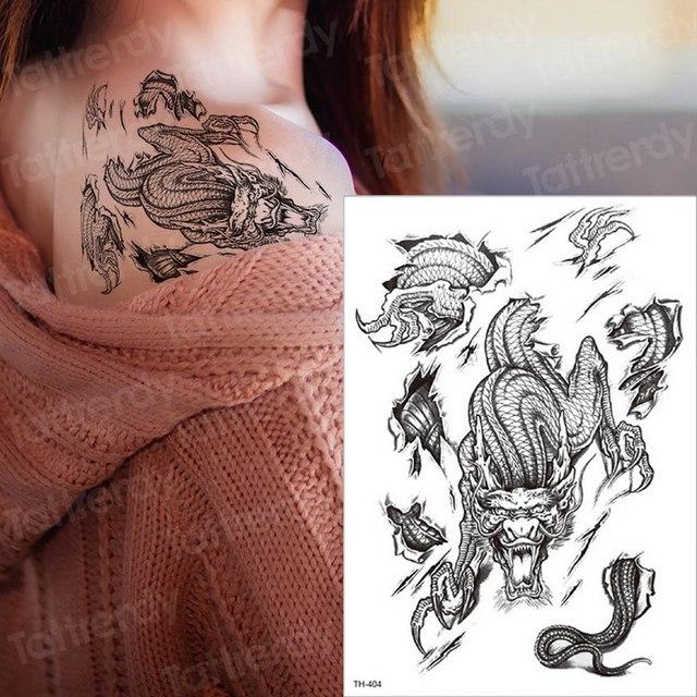 Waterproof Temporary Sleeve Tattoo Sex Tattoo Women Men Shoulder Back Tattoos Arm Sleeves Tatoo Dragon Lion Paw Tattoo Black Boy Temporary Tattoos Aliexpress
