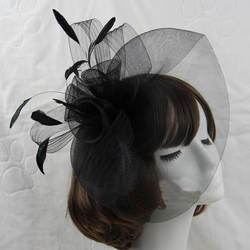 Последние дешевые черный, белый, красный перо цветы Свадебная шляпа для невесты головной убор шпилька Чистая Пряжа качество оптовая