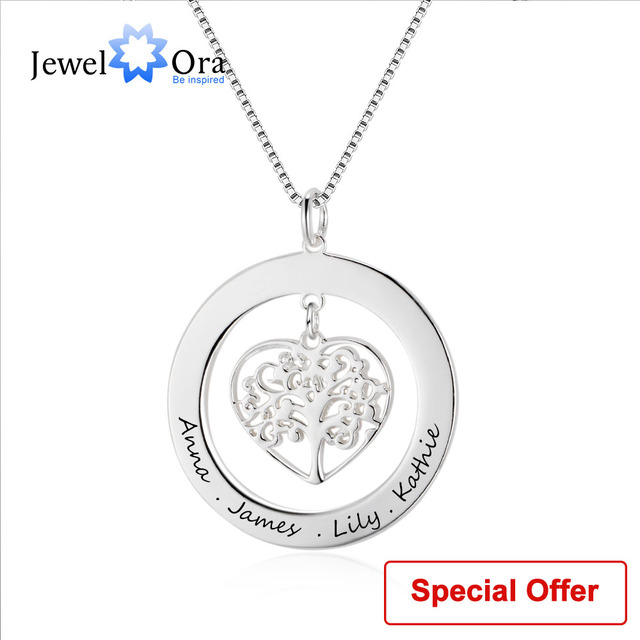 d8f099715544e Family Gift Jewelry Tree Of Life Personalized Engrave Name Necklace 925 Sterling  Silver Necklaces   Pendants