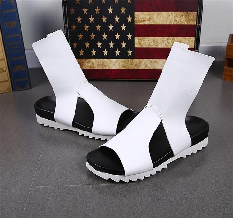 Sandalias Blanco Negro Nueva Hombres De Los Hueco Transpirables Moda Zapatos Gladiador Playa Hombre blanco Sólido Plataforma Casual Cool Negro Verano w8BFIq8