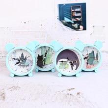 4 cores do agregado familiar portátil bonito mini relógio despertador dos desenhos animados mesa número redondo relógio digital casa decoração presentes de natal 60089