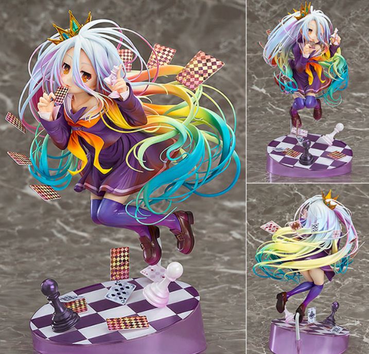 No Game No Life 3 1/8 Painted Figure Siro Sexy Girl Shiro Poker Chess Garage Kit Brinquedos Anime Action Figure Toys 20cm