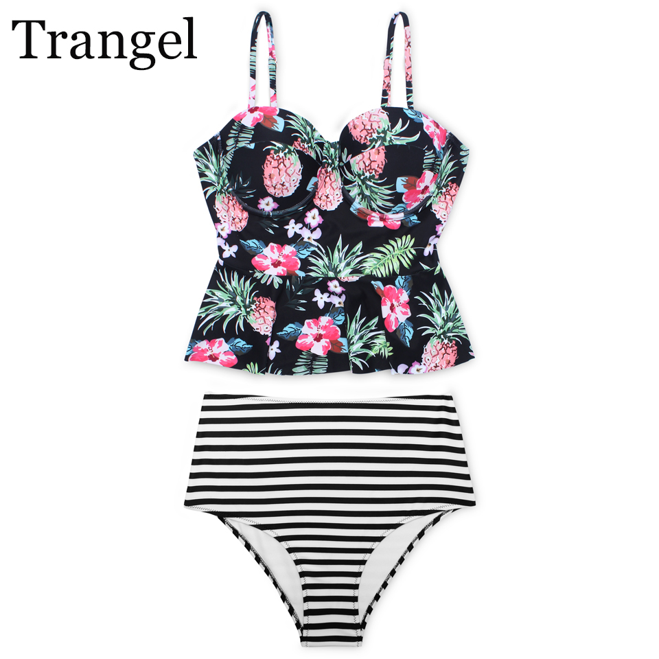 Trangel sexy floral pineapple print bikini set high waist swimsuit women bandeau swimwear push up bikni stripe bodysuit LD577